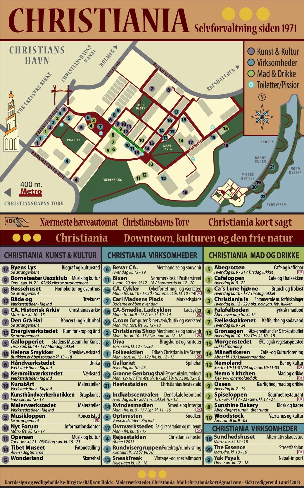 Christiania Org Christiania Downtown Oversigtskort