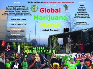 VIRTUEL Global Marijuana March i København 08.05.2021 i mini format – Fra Christiania til FN